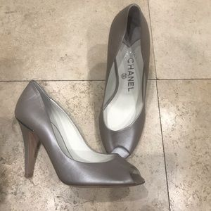 Chanel peep toe heels